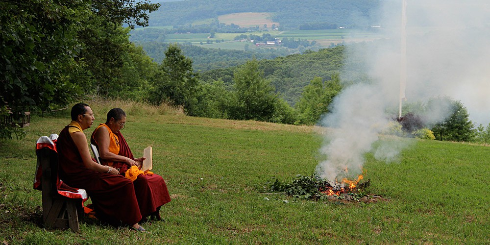 Rinpoche relaxing at Buddhafield Summer Retreat, July 2011.