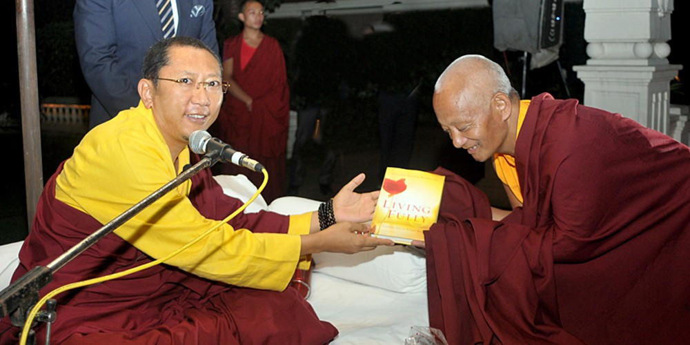 Rinpoche with Khenpo Kamal Tamang, editor for Nepali version of Living Fully, Kathmandu, Nepal