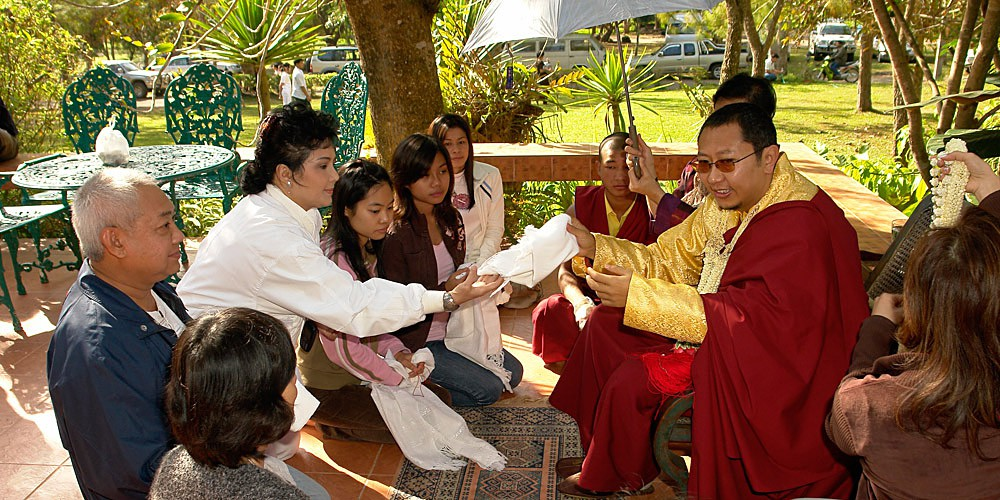 Giving blessings in Thailand, 2006.