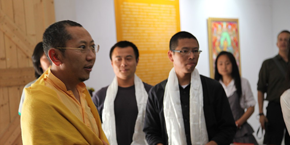 Rinpoche hosts exhitbit of thangka paintings in Jiaxing, China, 2011.